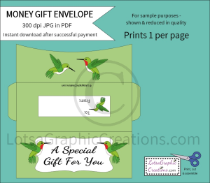 A Special Gift For You Hummingbirds Money Gift Envelope | Other Files | Arts and Crafts