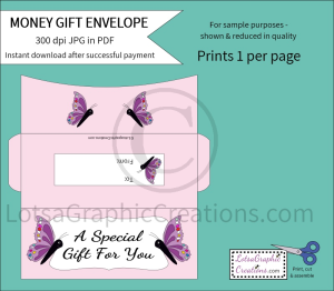 A Special Gift For You Butterflies Money Gift Envelope   Other Files   Arts and Crafts