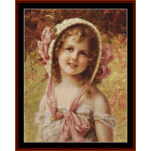 the cherry bonnet – emile vernon cross stitch pattern by kathleen george at cross stitch collectibles