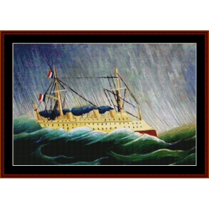 a ship in the storm – henri rousseau cross stitch pattern by kathleen george at cross stitch collectibles