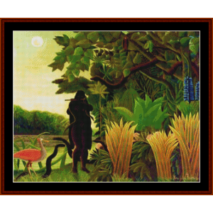 the snake charmer – henri rousseau cross stitch pattern by kathleen george at cross stitch collectibles