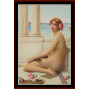 classical beauty with lyre – henry ryland cross stitch pattern by kathleen george at cross stitch collectibles