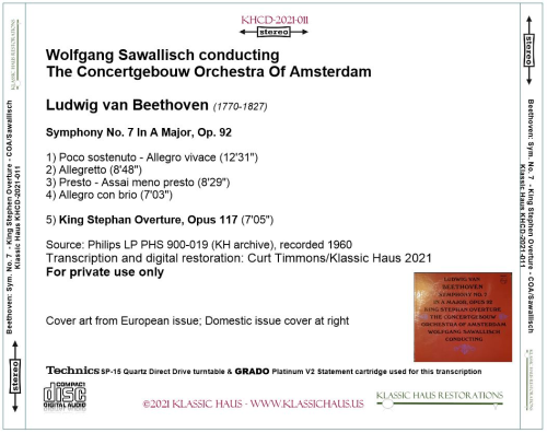 First Additional product image for - Beethoven: Symphony No. 7/King Stephen Overture - COA/Wolfgang Sawallisch (1960)
