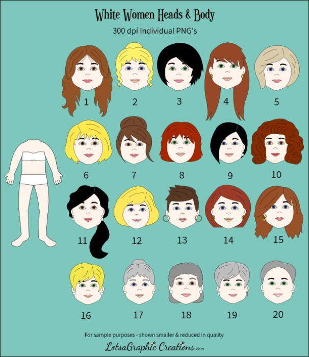 Second Additional product image for - Women Heads & Bodies 42 Pc. Clipart Set