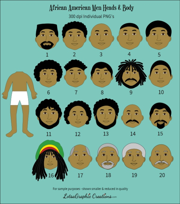 First Additional product image for - Men Heads & Bodies 42 Pc. Clipart Set
