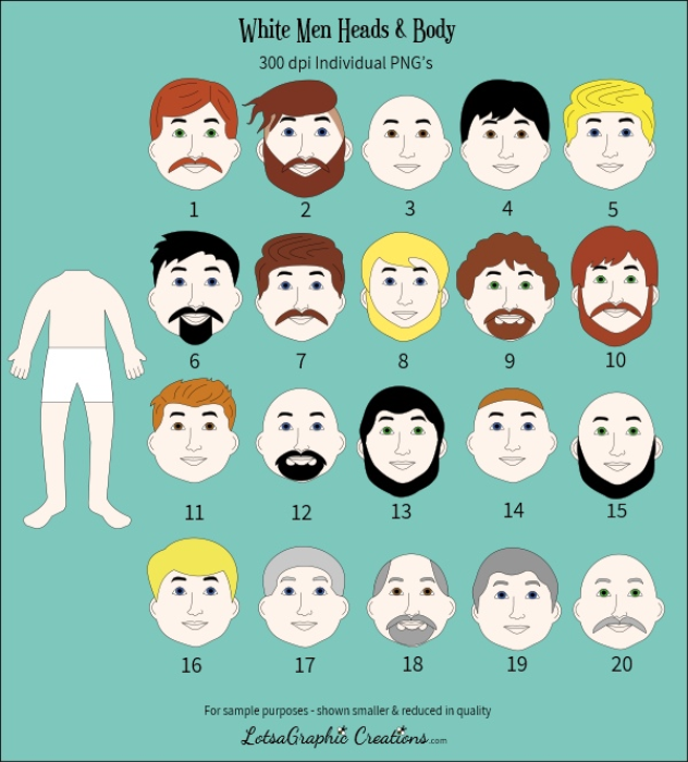 Second Additional product image for - Men Heads & Bodies 42 Pc. Clipart Set