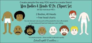 men heads & bodies 42 pc. clipart set