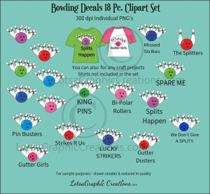 Bowling Decals 18 Pc. Clipart Set | Photos and Images | Clip Art