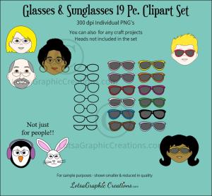 Glasses & Sunglasses 19 Pc. Clipart Set   Photos and Images   Clip Art