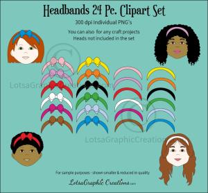 Headbands 24 Pc. Clipart Set | Photos and Images | Clip Art