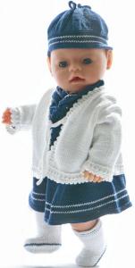 dollknittingpatterns  modell 0030d kirsten - matroskjole, sommerjakke, truse, strømper og lue-(norsk)