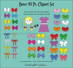 Bows 40 Pc. Clipart Set | Photos and Images | Clip Art