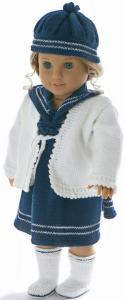 dollknittingpatterns modèle 0030d kirsten - robe, culotte, chaussettes, veste et chapeau  -(francais)