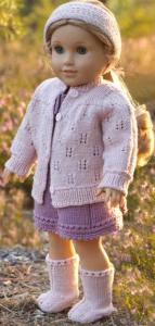 dollknittingpattern 0222d inga lill - dress, pants, jacket, hairband, hair-scarf and socks-(english)