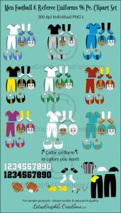 Men Football & Referee Uniforms 96 Pc. Clipart Set   Photos and Images   Clip Art