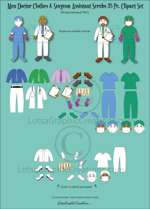 Men Doctor & Surgeon Assistant Clothes 35 Pc. Clipart Set | Photos and Images | Clip Art