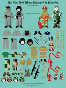 men police, fire & military uniforms 49 pc. clipart set