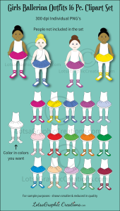 Girls Ballerina Outfits 16 Pc. Clipart Set | Photos and Images | Clip Art