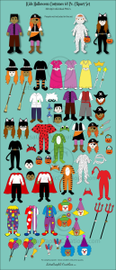 kids halloween costumes 64 pc. clipart set