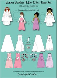 Women Wedding Clothes 18 Pc. Clipart Set | Photos and Images | Clip Art