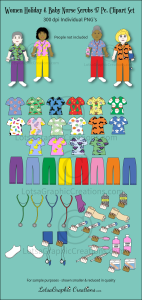 Women Holiday & Baby Nurse Scrubs 47 Pc. Clipart Set | Photos and Images | Clip Art