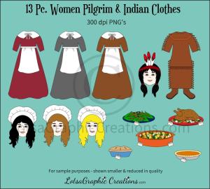 Women Pilgrim & Indian Clothes 13 Pc. Clipart Set | Photos and Images | Clip Art