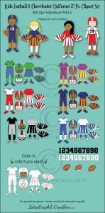 Kids Football & Cheerleader Uniforms 72 Pc. Clipart Set | Photos and Images | Clip Art