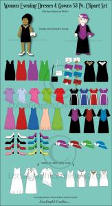 women evening dresses & gowns 53 pc. clipart set