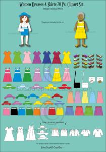 Women Dresses & Skirts 70 Pc. Clipart Set   Photos and Images   Clip Art