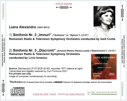 First Additional product image for - Liana Alexandra: Symphonies nos. 2-3