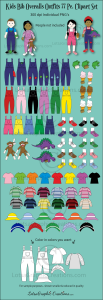 Kids Bib Overalls Outfits 77 Pc. Clipart Set | Photos and Images | Clip Art