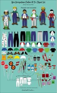 men occupations clothes 82 pc. clipart set