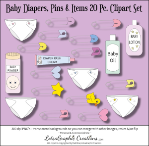 baby diapers, pins & items 20 pc. clipart set