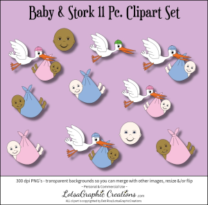 Baby & Stork 11 Pc. Clipart Set | Photos and Images | Clip Art