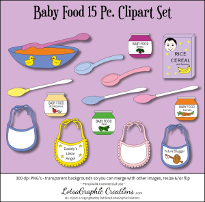 Baby Food 15 Pc Clipart Set | Photos and Images | Clip Art