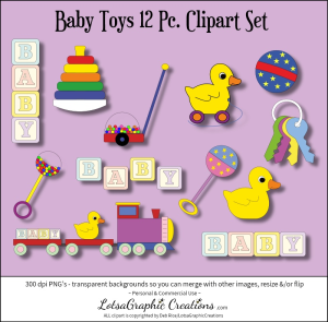 Baby Toys 12 Pc. Clipart Set   Photos and Images   Clip Art