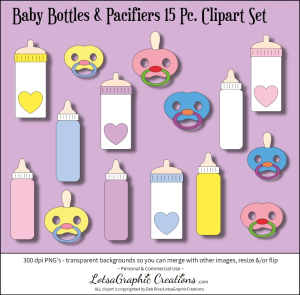 baby bottles & pacifiers 15 pc. clipart set