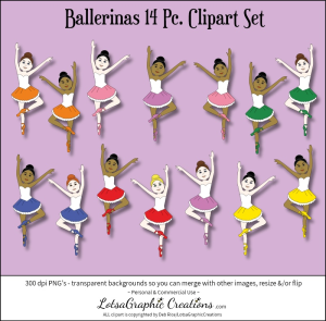 ballerinas 14 pc. clipart set