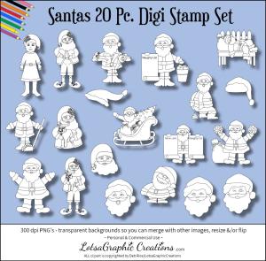 santas 20 pc. digi stamp set