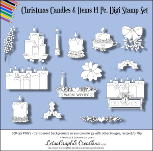 christmas candles & items 14 pc. digi stamp set