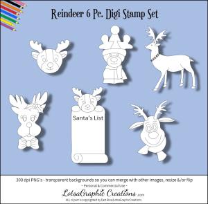 reindeer 6 pc. digi stamp set
