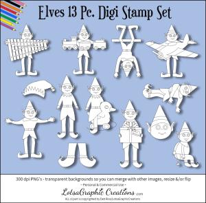 elves 13 pc. digi stamp set
