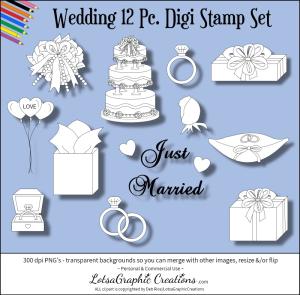 wedding 12 pc digi stamp set