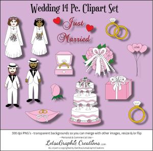 wedding 14 pc. clipart set