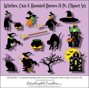 witches, cats & haunted houses 13 pc. clipart set