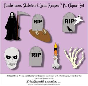 tombstones, skeleton & grim reaper 7 pc. clipart set