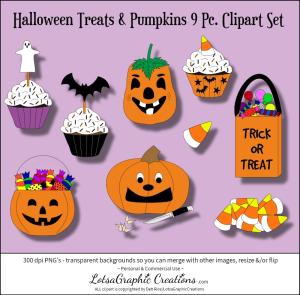 halloween treats & pumpkins 9 pc. clipart set