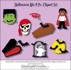 halloween mix 8 pc. clipart set