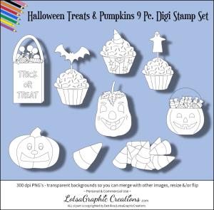 halloween treats & pumpkins 9 pc. digi stamps set
