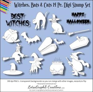 witches, bats & cats 14 pc. digi stamps set